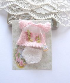 dollhouse knitted top and pants baby doll by Rainbowminiatures