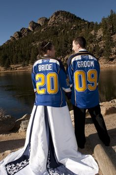 Wedding Picture Idea for you and your hubby sporting your favorite teams gear! I hope my husband likes the Broncos!