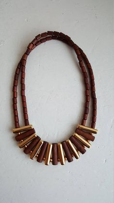 Finnish Vintage Aarikka Brown/Gold Necklace Made in the 90s
