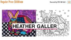 25% off- DIY Bunny Instant Coloring Book Page art Digital Download Print HEATHER GALLER - Animal Coloring Page (Cp9152)