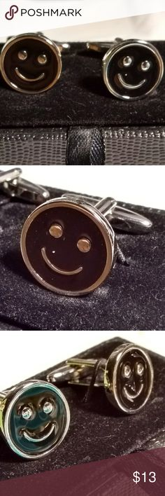 Smiley Face Men Cufflinks Brand New. Comes in Keepsake Case as pictured. Black and Silvertone. Accessories Cuff Links