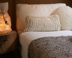This cosy cushion & rug would look wonderful knit with handspun yarn!