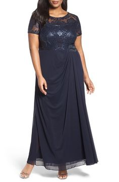Main Image - Alex Evenings Sequin Lace & Chiffon Ruched Long Dress (Plus Size) Chiffon Skirt, Dress Skirt, Skirt Set, Lace Chiffon, Plus Size Tunic Dress, Plus Size Dresses, Alex Evenings, Gowns With Sleeves, Prom Dresses