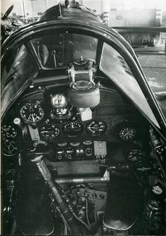 "The cockpit of an Italian fighter Macchi ""Folgore"" (Lightning) Military Jets, Military Aircraft, Italian Air Force, Aircraft Interiors, Flight Deck, Ww2 Aircraft, Luftwaffe, Fiat, Wwii"