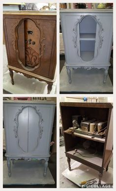 #diy #upcycled #furniture #furnituremakeover #cabinet #storage #shabbychic #rustic #englishcountry #cottage radio cabinet we gutted and put on a new back and added a center shelf. Done in Sherwin Williams pewter and detail glazing.