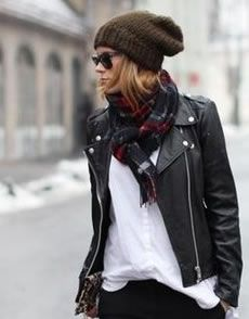 white tee + moto jacket + plaid scarf + knit beanie  Shop this outfit at www.shopsocialdish.com!