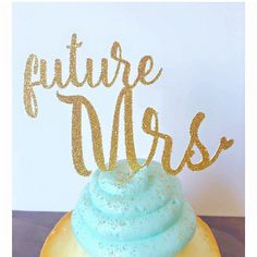 Future Mrs. Glitter Cupcake Toppers (Set of 12), Bridal Shower Cupcake Topper, Engagement Party Cupcake Toppers