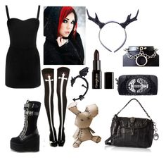 """""""Untitled #641"""" by queen-of-the-night-sky ❤ liked on Polyvore featuring Alexander McQueen, Demonia and Gorgeous Cosmetics"""