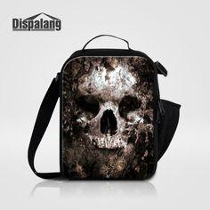 Dispalang Shoulder Insulated Lunch Bag for Children Cool Skull Print Thermal Lunch Box Kids Cooler Lunchbag Mini Picnic Food Bag