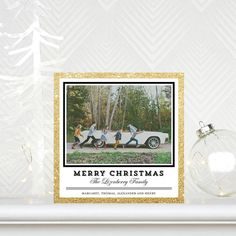 Glitzy Giggles - #Christmas Cards in a glimmer design of black, gold and white!