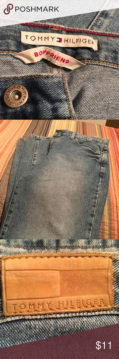 Tommy Hilfiger Jeans 10 Good Condition Tommy boyfriend jeans in size 10. No holes,tears or flaws noted.  I'm listening as Good condition because I am not sure ( and it's difficult to tell) if the jeans should have almost like different colors in places. See picture. Tommy Hilfiger Jeans