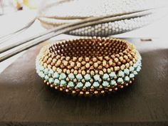 beadjunction  beadwork  Shelley Nybakke's Metalsmith's Match bracelet in RAW stitch