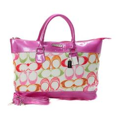 Look Here! Coach Logo In Monogram Small Pink Totes BYH Outlet Online