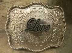 Rhinestone Love Belt Buckle