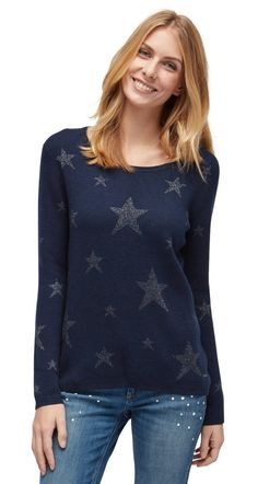 Tom Tailor Strickpullover »mit Sternen-Muster« für 59,99€. Pullover mit Sternen-Muster, Für Frauen, Unifarben mit Print bei OTTO