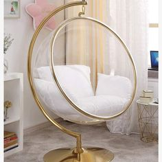 DITI Hanging Basket Bubble Glass Chair With Stand - Stylish and gorgeous rattan wicker weave swing chair with iron stand, big egg swing, cushion seat, - Cute Bedroom Ideas, Cute Room Decor, Room Ideas Bedroom, Girl Bedroom Designs, Bedroom Chair, Swing In Bedroom, Red Bedroom Decor, Gold Room Decor, Gold Bedroom