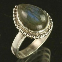 925 Sterling Silver Natural Blue Fire LABRADORITE Pear Gems Ring Size US 6.75 #Unbranded