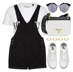 """""""Overalls"""" by monmondefou ❤ liked on Polyvore featuring Tee and Cake, Monki, Prada, Joanna Laura Constantine, Vans, white and black"""