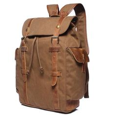 Handcrafted Coffee Waxed Canvas Leather Travel Backpack Waterproof School Backpack FB09