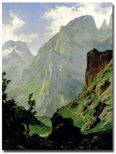 The Polyster Canvas Of Oil Painting 'Haes Carlos De Mancorbo Canal In Picos De Europa 1876 ' ,size: 16 X 23 Inch / 41 X 57 Cm ,this Beautiful Art Decorative Prints On Canvas Is Fit For Laundry Room Decor And Home Gallery Art And Gifts Oil On Canvas, Canvas Art, Canvas Prints, Paintings I Love, Painting Prints, Landscape Art, Landscape Paintings, Spanish Painters, A4 Poster