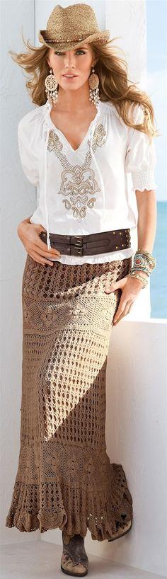 Tiraria o cinto e o chapéu para ficar ainda melhor -  LOOKandLOVEwithLOLO- Boston Proper Hand- Crocheted BOHO Skirt