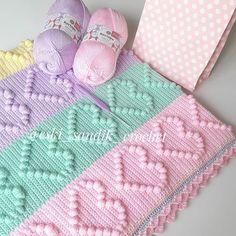 Crochet Bobble Blanket, Bobble Stitch Crochet, Knit Crochet, Crochet Square Patterns, Crochet Borders, Crochet Blanket Patterns, Crochet Crafts, Crochet Projects, Baby Motiv