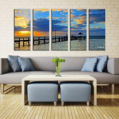 Ready2HangArt Bruce Bain 'Strokes of Light at Sea' 5-pc Canvas Art Set