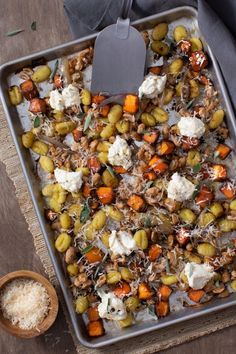 Store-bought gnocchi, butternut squash, and cannellini beans all cook together on one sheet pan—no boiling needed! Add a topping of ricotta and brown butter, and buon appetito! Fall Recipes, Great Recipes, Dinner Recipes, Pasta Recipes, Dinner Ideas, Sage Butter, Brown Butter, Pasta Dishes, Gnocchi Dishes