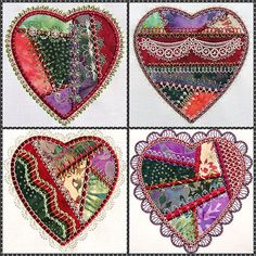 Crazy Quilt Heart Designs for Machine Embroidery! A whole series of heart shaped crazy patch applique with original custom digitized motifs you won't find anywhere but Molly Mine! Lower stitch counts with smaller motifs to showcase your fabrics or add your own designs elements.