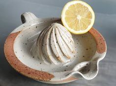 Ceramic lemon squezzer ceramic juicer pottery kitchen cookware orange squeezer in stoneware kitchen accessory cream color.  ****************This item is