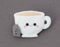 Teacup Felt Brooch, White, Tea, Cute Brooch, Teabag