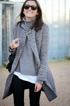 Stylish Gray Coat With Grey Sweater