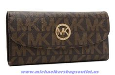 Michael Kors Leather Logo Wallet Chocolate