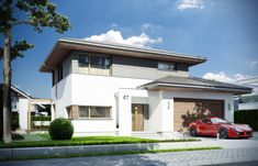 Projekt domu Modena - wizualizacja frontu Light Oak, Home Fashion, Bungalow, My House, Entrance, Home Goods, House Plans, Garage Doors, New Homes