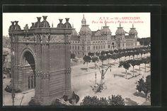 stare pocztówki: AK Barcelona, Arco de Triunfo y Palacio de Justicia Old Photographs, Madrid, Louvre, Building, Travel, Righteousness, Palaces, Architecture, Barcelona City