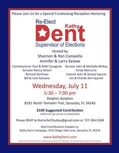 political fundraiser flyer kathy dent for sarasota supervisor of elections fundraiser july 11th