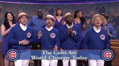 """NEW YORK CITY, New York-- LIVE FROM NEW YORK, IT'S...  THE CHICAGO CUBS ON """"SATURDAY NIGHT LIVE!""""  A few of the Cubs' brightest stars showed off their singing skills on the comedy show last night. Anthony Rizzo, David Ross, and Dexter Fowler were joined by Cubs super-fan and SNL alum Bill Murray for a musical number."""