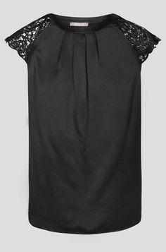 Tricou bimaterial cu mâneci scurte și decolteu transparent - Negru