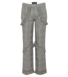 Grey and white ruffled check trousers - Simone Rocha £575