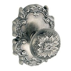 Fusion Floral Style Privacy Door Knob Set from the Bella Villa Collection Antique Pewter Knobset Privacy
