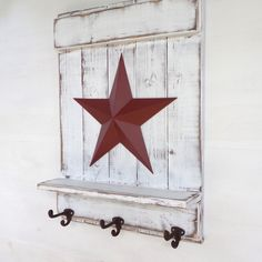 Star Shelf with Hooks; Distressed White Wood, Red Barn Star; Rustic Country, Primitive, Vintage Farmhouse Decor; Wall Hooks; Cast Iron Hooks by AppleFarmCreations on Etsy