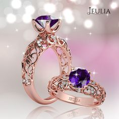 Rose Gold With Amethyst,  Simple but Elegant. #jeulia
