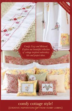 Comfy, Cozy and Relaxed. Explore our beautiful collection of cottage-inspired embroidery kits and project ideas.
