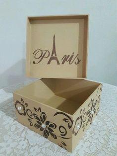 Caixa Presente Vintage Paris - Box Artesanato