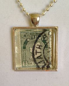 Map of Ireland Stamp Pendant Necklace by joytoyou41 on Etsy, $25.00