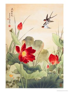 Swallows & lotus flowers.. beautiful for fame area www.pinkdwelling.com