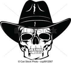 Illustration of skull in black cowboy s hat vector art e0fcada28