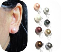 8mm Comfortable Wedding clip on earrings |10A| MOP shell pearl clip on earrings Invisible bridal clipon Non Pierced Earrings Bridesmaid Gift