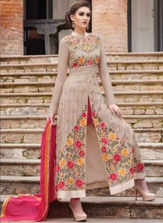 Amazing Cream Pink Embroidery Work Georgette Anarkali Suit #Suits #Salwar   http://www.angelnx.com/Salwar-Kameez