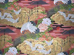 1 Yard Kona Bay NOBU-50 Cranes & Flowers Red 2008 100% Cotton
